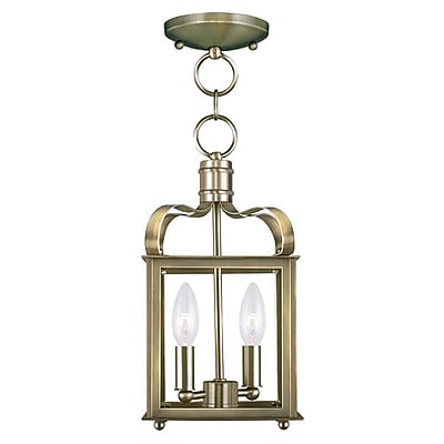 Livex Lighting 2-Light Antique Brass Convertible Chandelier (4312-01)