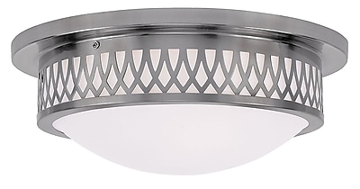 Livex Lighting 3-Light Brushed Nickel Mount with Hand Blown Satin White Glass (7353-91)