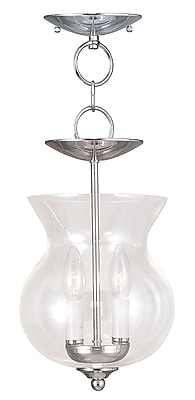Livex Lighting 2-Light Polished Nickel Chandelier with Clear Glass Shade (4393-35)