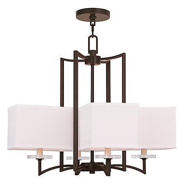 Livex Lighting 4-Light Olde Bronze Chandelier with Hand Crafted Off-White Fabric Hardback Shade (50705-67)