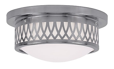 Livex Lighting 2-Light Brushed Nickel Mount with Hand Blown Satin White Glass (7351-91)
