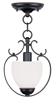 Livex Lighting 1-Light Olde Bronze Convertible Chandelier with Hand Blown Satin Opal White Glass (4760-67)