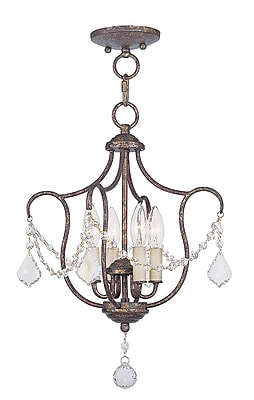 Livex Lighting 4-Light Hand Applied Venetian Golden Bronze Convertible Chandelier with (6434-71)