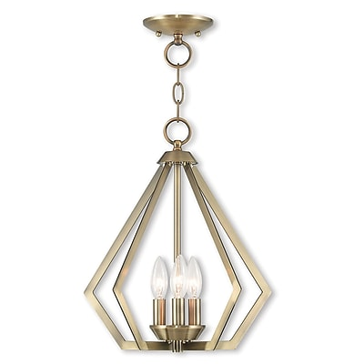Livex Lighting 3-Light Antique Brass Convertible Chandelier (40923-01)