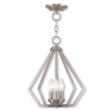 Livex Lighting 3-Light Brushed Nickel Convertible Chandelier (40923-91)