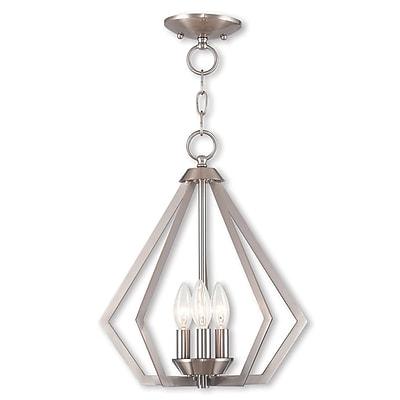 Livex Lighting 3-Light Brushed Nickel Convertible Chandelier (40923-91)