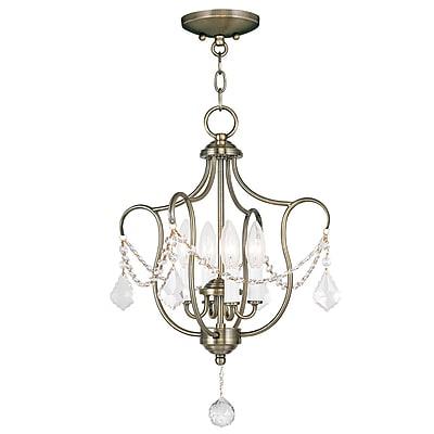Livex Lighting 4-Light Antique Brass Semi-Flush Mount Light Convertible Pendant (6434-01)