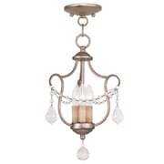 Livex Lighting 3-Light Antique Silver Leaf Convertible Semi-Flush Mount (6420-73)