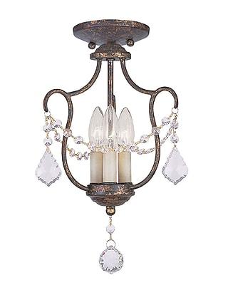 Livex Lighting 3-Light Hand Applied Venetian Golden Bronze Convertible Chandelier with (6420-71)
