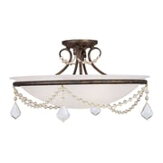 Livex Lighting 3-Light Hand Applied Venetian Golden Bronze Mount with White Alabaster Glass (6525-71)