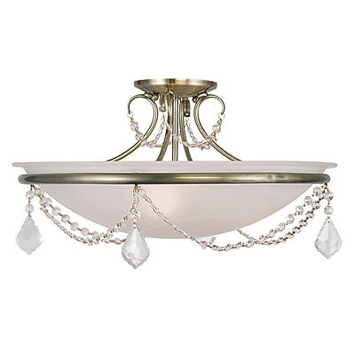 Livex Lighting 3-Light Antique Brass Semi-Flush Mount (6525-01)