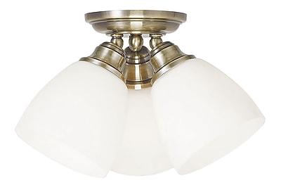 Livex Lighting 3-Light Antique Brass Flush Mount (13664-01)