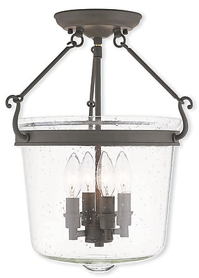 Livex Lighting 4-Light Bronze Mount with Hand Crafted Seeded Glass (50495-07)