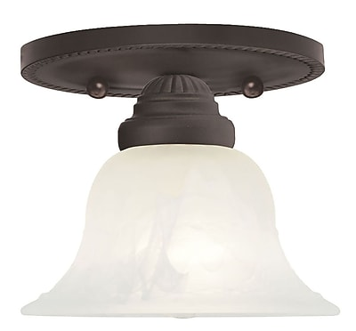 Livex Lighting 1-Light Bronze Mount with White Alabaster Glass (1530-07)