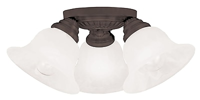 Livex Lighting 3-Light Bronze Mount with White Alabaster Glass (1529-07)