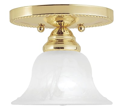 Livex Lighting 1-Light Polished Brass Mount with White Alabaster Glass (1530-02)