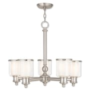 Livex Lighting 5-Light Brushed Nickel Chandelier with Hand Crafted Clear and Satin Opal White Glass Shade (40205-91)