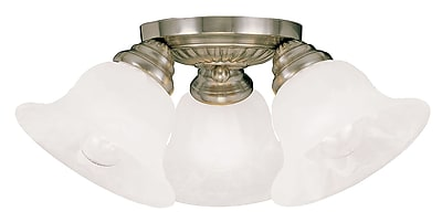Livex Lighting 3-Light Antique Brass Mount with White Alabaster Glass (1529-01)