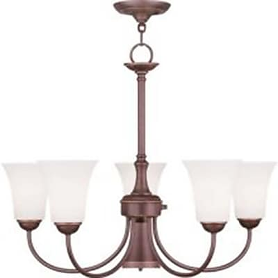Livex Lighting 6-Light Vintage Bronze Chandelier with Hand Blown Satin Opal White Glass (6465-70)