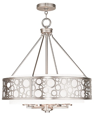Livex Lighting 6-Light Brushed Nickel Chandelier with Hand Crafted White Fabric Hardback Shade (86796-91)
