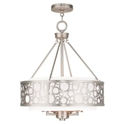 Livex Lighting 5-Light Brushed Nickel Chandelier with White Hardback Fabric Shade (86795-91)