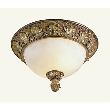 Livex Lighting 2-Light Venetian Patina Flush Mount with Vintage Carved Scavo Glass Shade (8457-57)