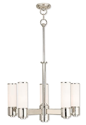 Livex Lighting 5-Light Polished Nickel Dinette Chandelier with Hand Blown Satin Opal White Glass (52105-35)