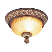Livex Lighting 2-Light Verona Bronze with Aged Gold Leaf Accents Flush Mount (8562-63)