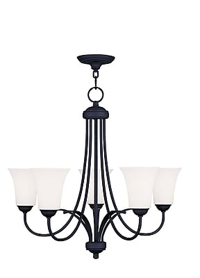 Livex Lighting 5-Light Black Chandelier with Hand Blown Satin Opal White Glass (6475-04)