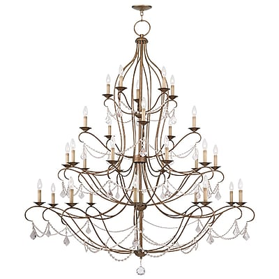 Livex Lighting 30-Light Antique Gold Leaf Chandelier (6459-48)
