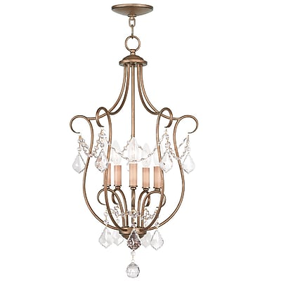 Livex Lighting 5-Light Antique Gold Leaf Pendant (6436-48)