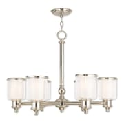 6-Light Polished Nickel Chandelier with Hand Crafted Clear Glass Outside & Satin Opal White Glass Inside