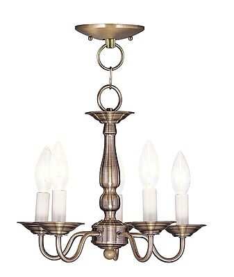 Livex Lighting 5-Light Antique Brass Chandelier (5011-01)