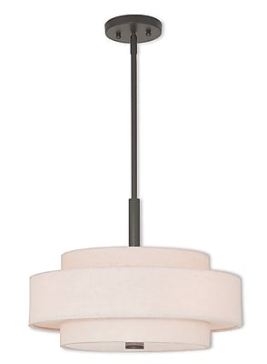 Livex Lighting 4-Light English Bronze Pendant with Hand Crafted Oatmeal Color Fabric Hardback Shade (52137-92)