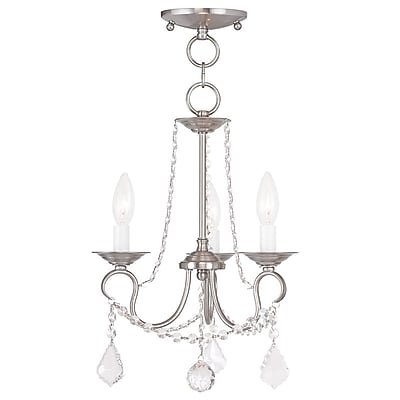 Livex Lighting 3-Light Brushed Nickel Semi-Flush Mount Light Convertible Pendant (6513-91)