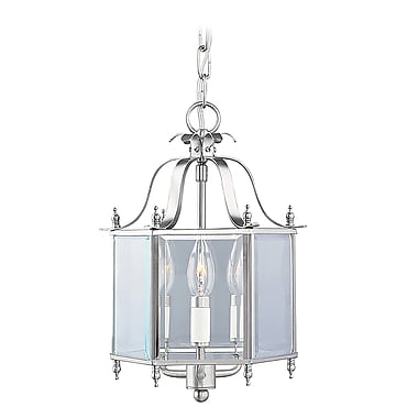 Livex Lighting 3-Light Brushed Nickel Pendant with Clear Beveled Glass Shade (4403-91)