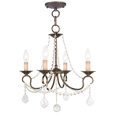 Livex Lighting 4-Light Venetian Golden Bronze Semi-Flush Mount Light Convertible Pendant (6514-71)