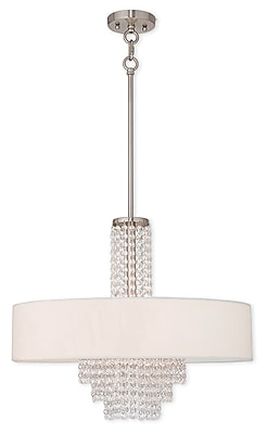 Livex Lighting 5-Light Brushed Nickel Chandelier with Off-White Hardback Fabric Shade (51034-91)