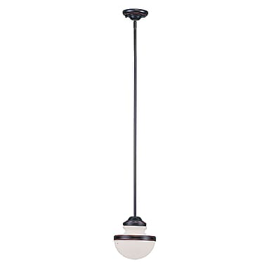 Livex Lighting 1-Light Olde Bronze Pendant with Hand Blown Satin Opal White Glass (5724-67)