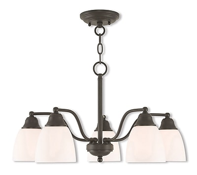Livex Lighting 5-Light Bronze Convertible Chandelier with Hand Blown Satin Opal White Glass Shade (53855-07)