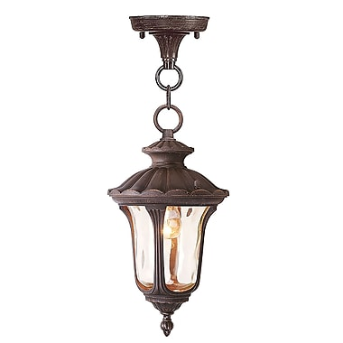 Livex Lighting 1-Light Imperial Bronze Pendant with Hand Blown Light Amber Water Glass (7668-58)