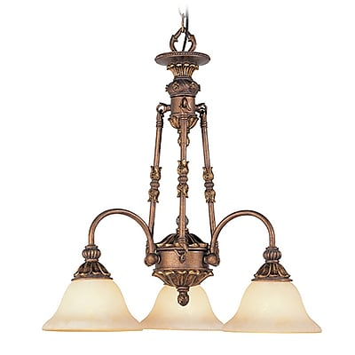 Livex Lighting 3-Light Crackled Greek Bronze with Aged Gold Accents Chandelier (8614-30)
