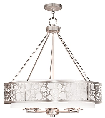 Livex Lighting 8-Light Brushed Nickel Chandelier with Hand Crafted White Fabric Hardback Shade (86798-91)