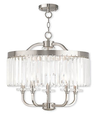 Livex Lighting 5-Light Brushed Nickel Convertible Chandelier (50545-91)