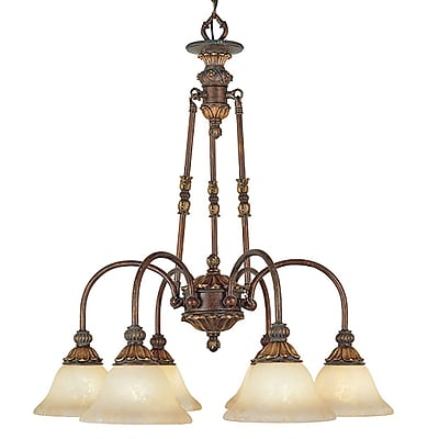 Livex Lighting 6-Light Crackled Greek Bronze Chandelier with Aged Gold Accents (8605-30)