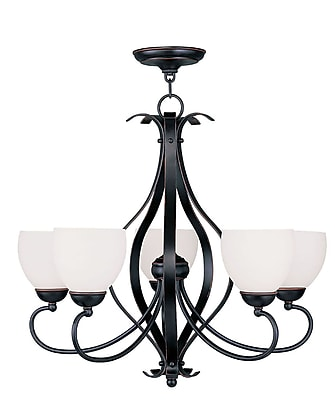 Livex Lighting 5-Light Olde Bronze Chandelier with Hand Blown Satin Opal White Glass (4765-67)