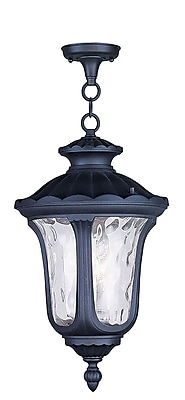 Livex Lighting 3-Light Black Pendant with Clear Water Glass (7858-04)