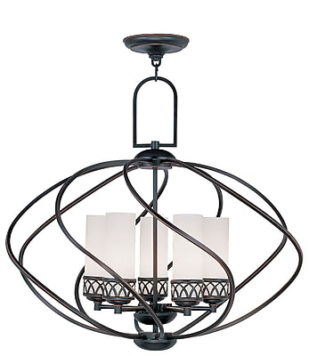 Livex Lighting 5-Light Olde Bronze Chandelier with Hand Blown Satin White Glass (4725-67)