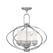 Livex Lighting 4-Light Brushed Nickel Chandelier with Hand Blown Satin White Glass (4724-91)