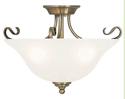 Livex Lighting 3-Light Antique Brass Flush Mount (6130-01)